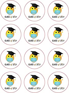 288 Graduation Seal Stickers 2021 , 1 inch Quarantined Senior Class Invitation Label Envelope Stamp Black Cap Party Gift Memory Funny Emoji Social Distancing Decal Laptop Computer Phone Decoration