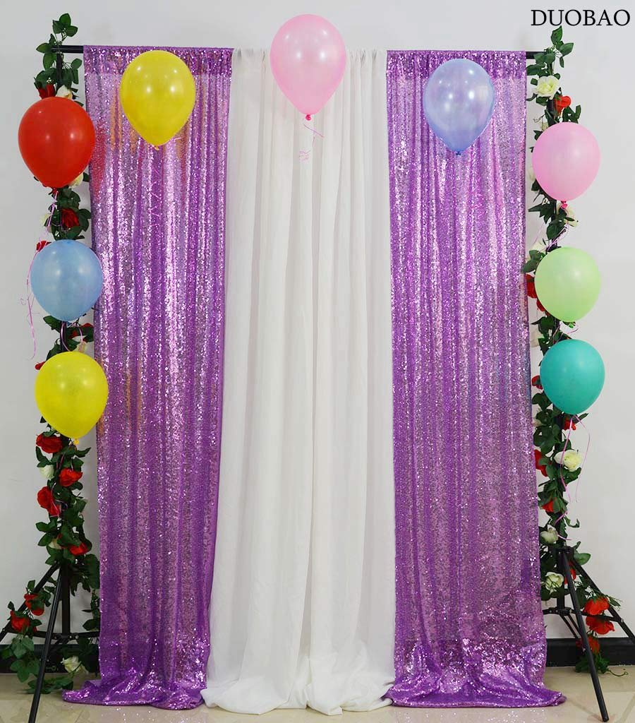 DUOBAO Sequin-Backdrop-2-Panels-Lavender Sequin Backdrop 4FTX12FT Sequins Curtains Glitter Background Backdrop Tinsel Curtain Backdrop Backdrop Fabric Photo Booth Backdrop(4FTX12FT, Lavender)