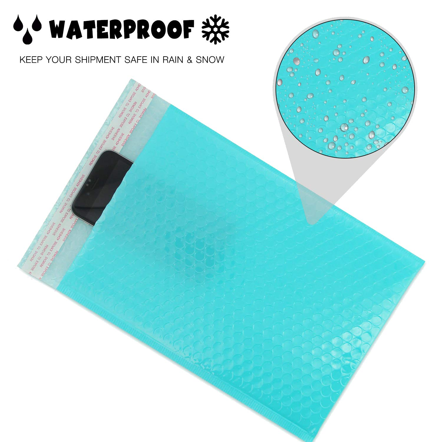 Pack of 100 A4 Paper Size Teal Yomuse G//4 Packaging Self-Seal Padded Bubble Plastic Mailers Postage Bags 260mm x 320mm 40mm Lip