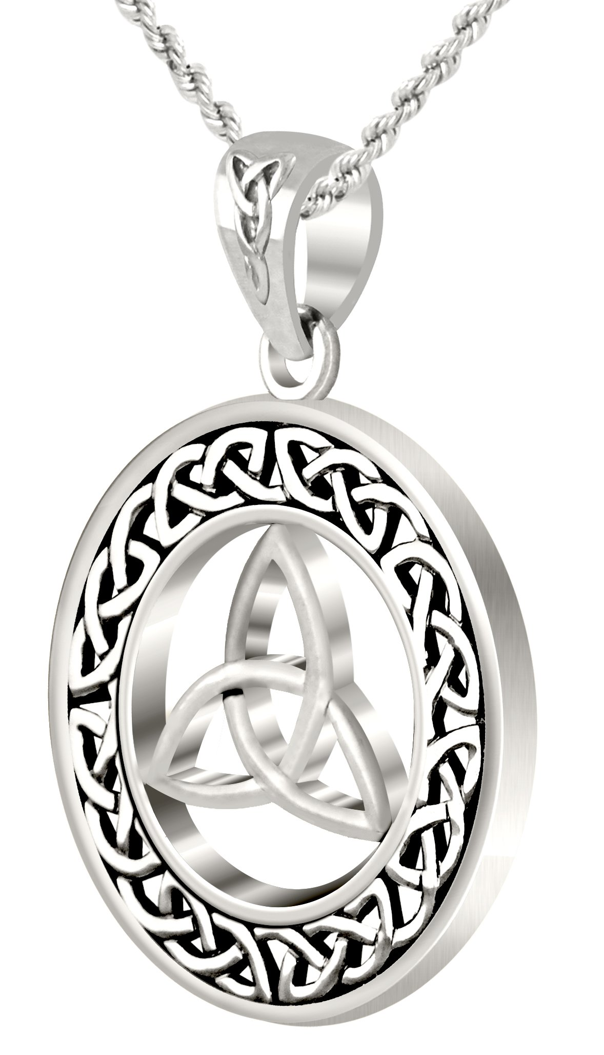 New Round 0.925 Sterling Silver Irish Celtic Trinity Love Knot Pendant Necklace