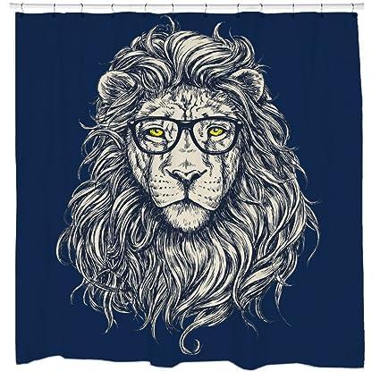 Lion Shower Curtain Threadless Hipster Art Gift For Boyfriend Unique