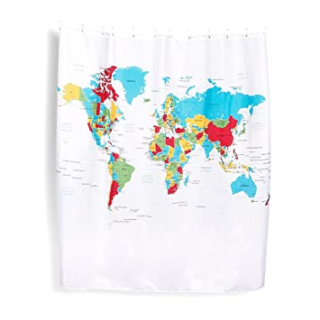 Amazon world map shower curtain polyester shower curtain map world map shower curtain polyester shower curtain map with 12 hooks non toxic gumiabroncs Images