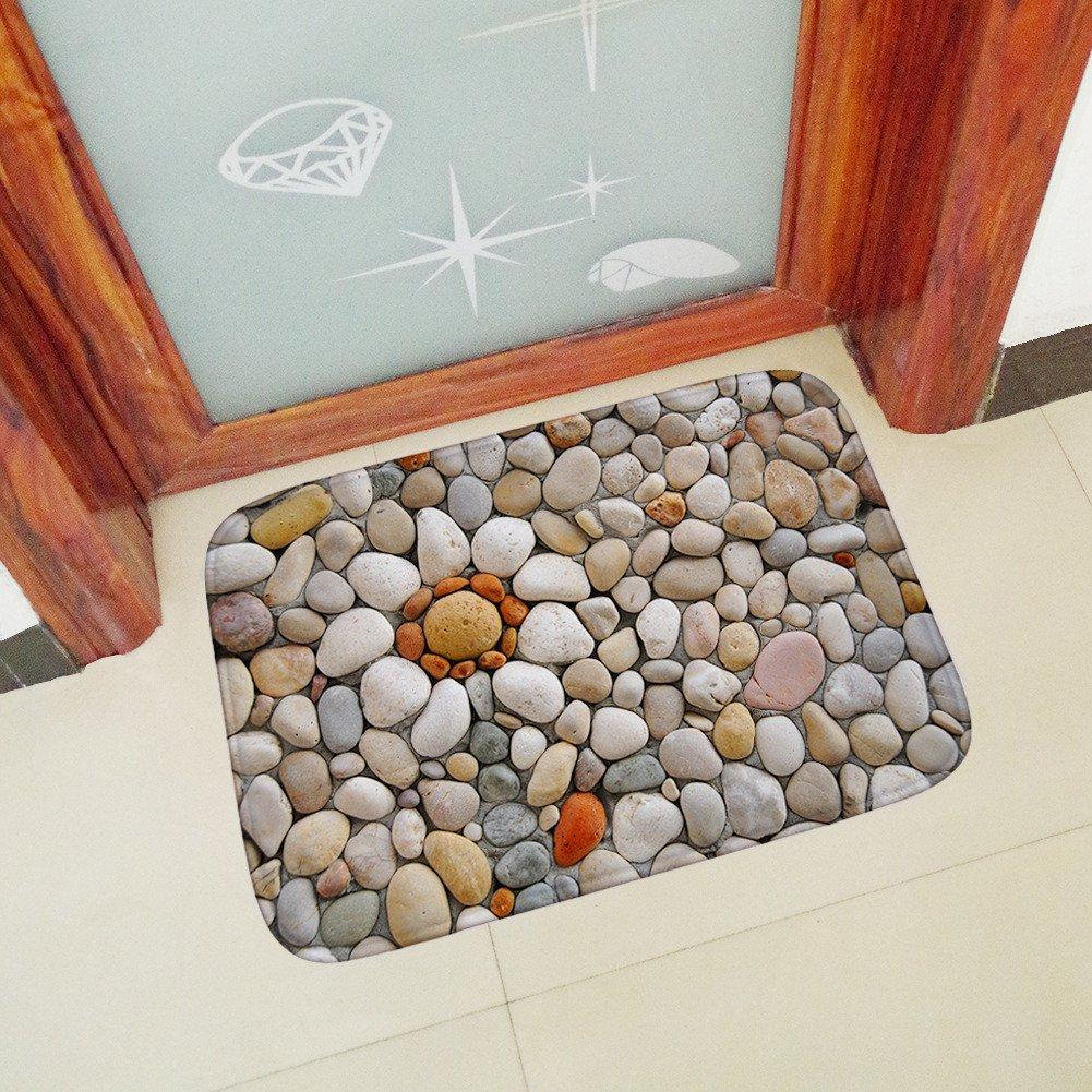 Non-Slip Bathroom Mats 3D Cobblestone Printing Front Door Inside Floor Dirt Trapper Mats Waterproof Welcome Door Mat Rubber Backing Rugs 40x60cm (Multicolor)