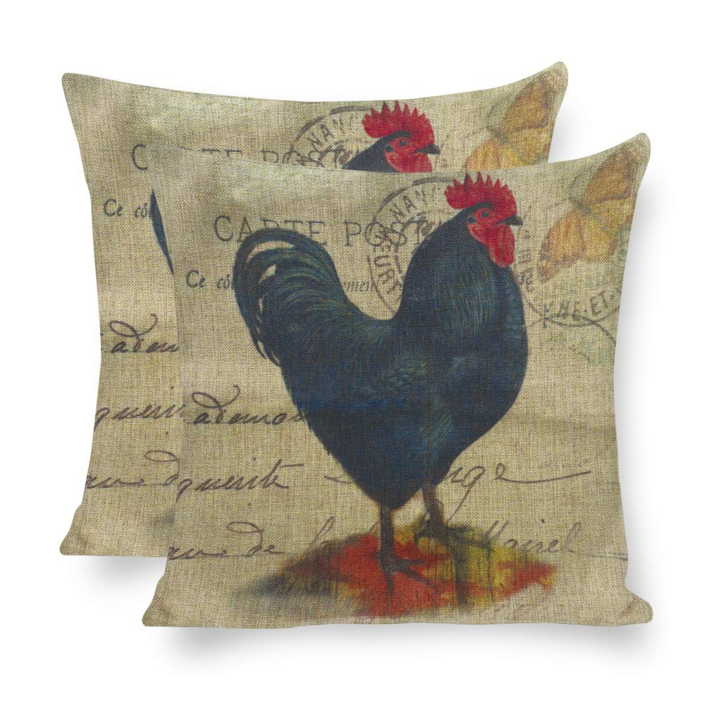 Yilooom Pack of 2 Throw Pillow Covers Cases Couch Sofa Home Decoration Vintage Chicken Rooster 16 X 16 inches Purple LQ-1kK6WigPH8-1