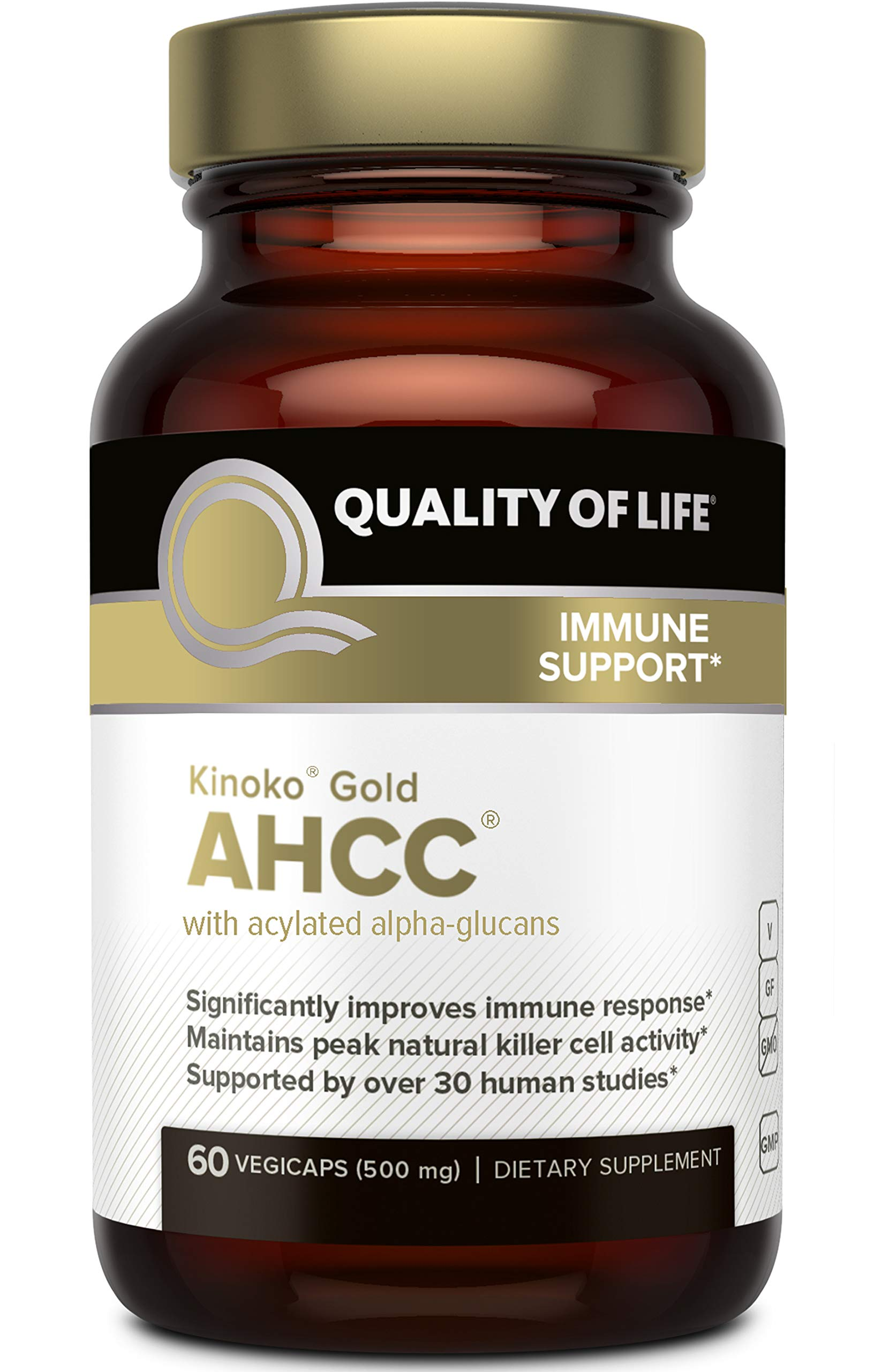 Premium Kinoko Gold AHCC Supplement-500mg of AHCC per Capsule-Supports Immune Health, Liver Function, Maintains Natural Killer Cell Activity & Enhances Cytokine Production-60 Veggie Capsules by Quality of Life