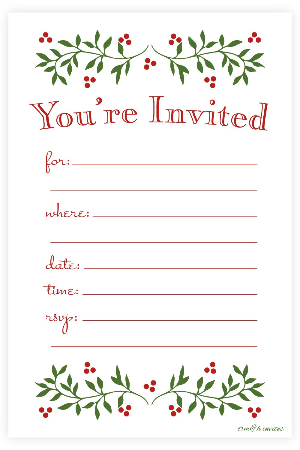 amazon com festive christmas party invitations fill in style 20