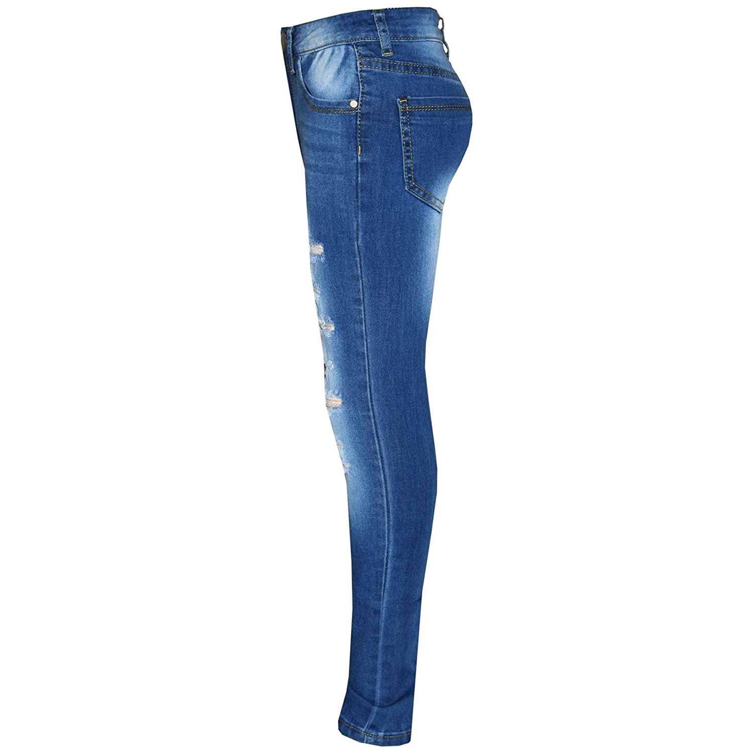 Kids Girls Skinny Jeans Denim Ripped Stretchy Pants Jeggings New Age 3-13 Years