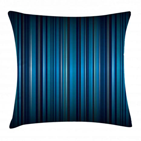 Ambesonne Harbour Stripe Throw Pillow Cushion Cover, Vibrant Nvay Blue Background with Thin Vertical Lines Modern Design, Decorative Square Accent ...