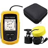 $45 » RICANK Portable Fish Finder with Hard Travel Case, Contour Readout Handheld Fishfinder Depth with…