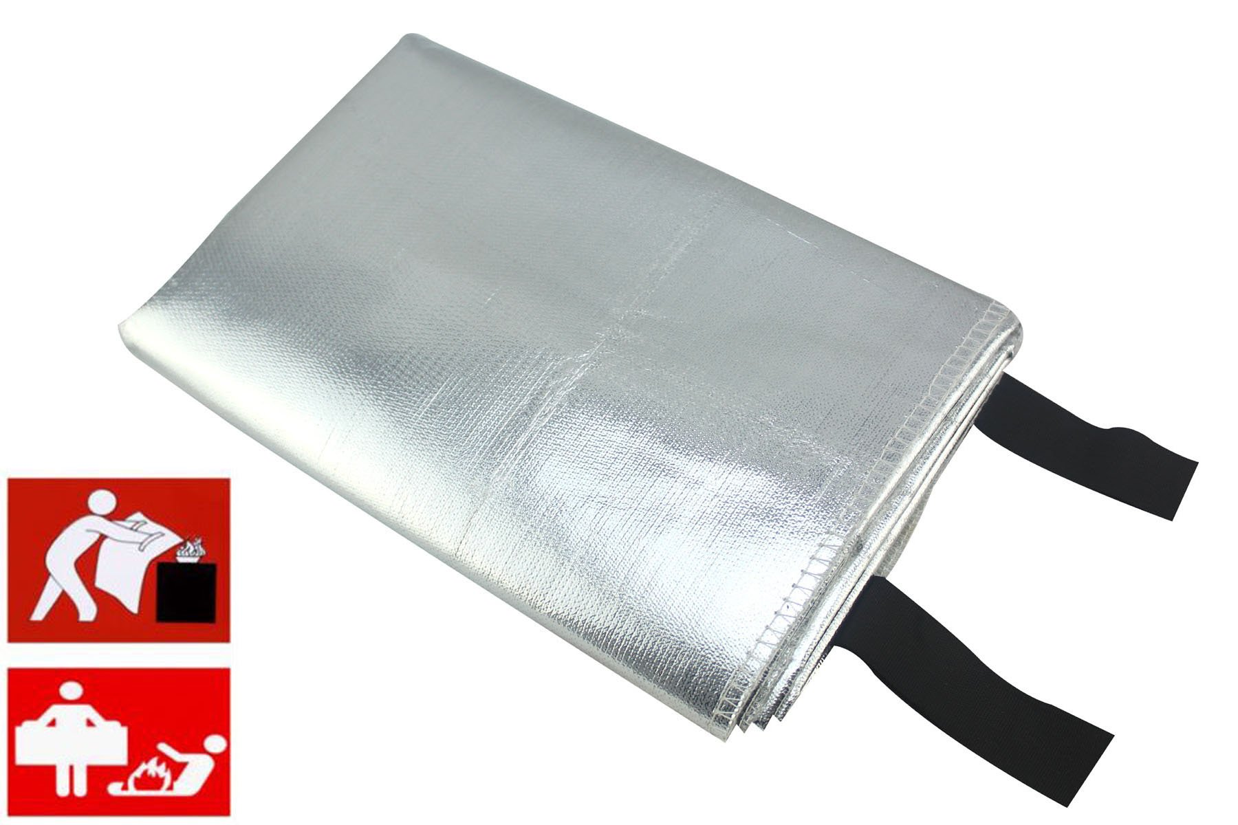 SWI parts Emergency fire blanket fibre glass with Aluminum foil heat reflect fire blanket Size:39.35''x39.35'' (Medium)