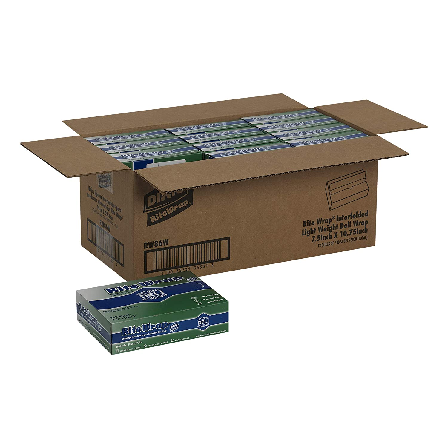 10 W x 10.75 L Rite-Wrap Light-Weight Interfolded Dry Wax Deli Paper by GP PRO RW106 Georgia-Pacific White Case of 12 Boxes, 500 Sheets Per Box