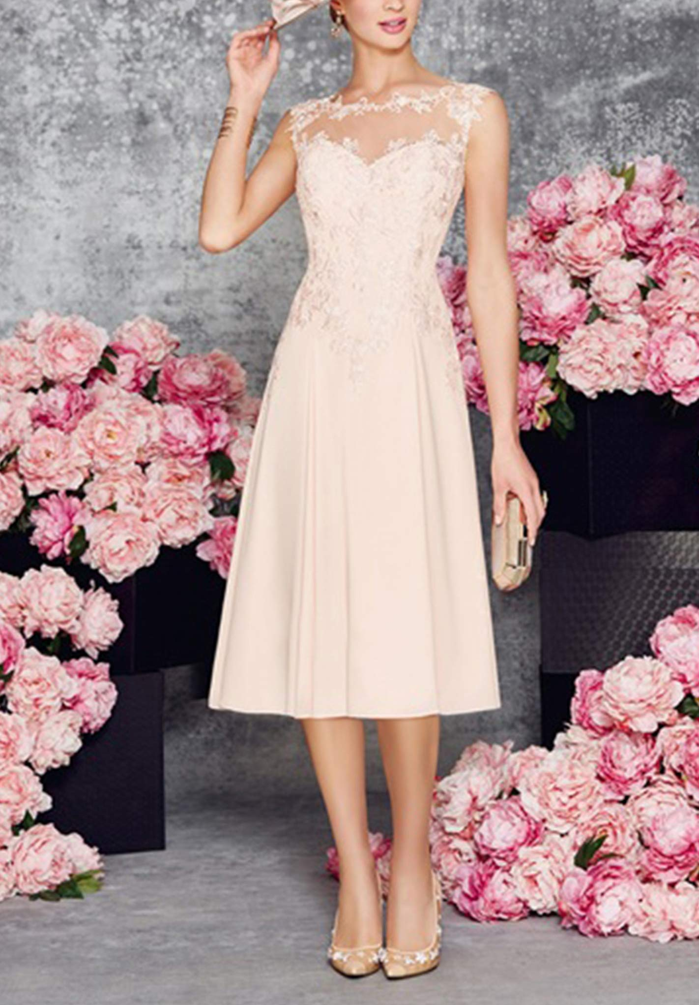 LANSITINA Plus Size Mother of The Bride Dresses Tea Length Mother of The  Groom Dresses for Wedding with Jackets(Pearl Pink,18)