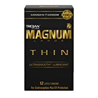TROJAN Magnum Thin Large Size Lubricated Latex Condoms, 12 Count