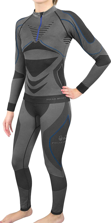 Polar Husky® Damen Funktionsunterwäsche Set/Thermo Langarm Shirt + Lange Unterhose Compression
