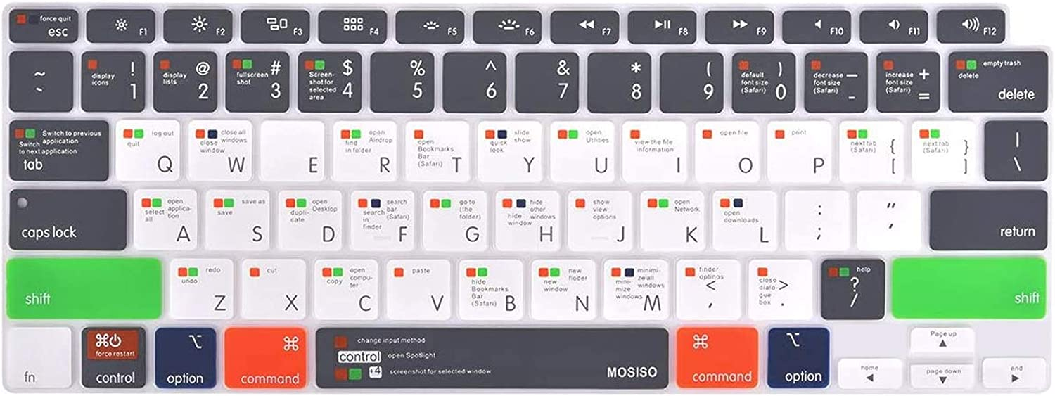 MOSISO Keyboard Cover Only Compatible with MacBook Air 13 inch 2020 Release A2337 M1 A2179 Backlit Magic Keyboard with Retina Display&Touch ID, Protective Silicone Skin, Mac OS X Shortcut, Gray