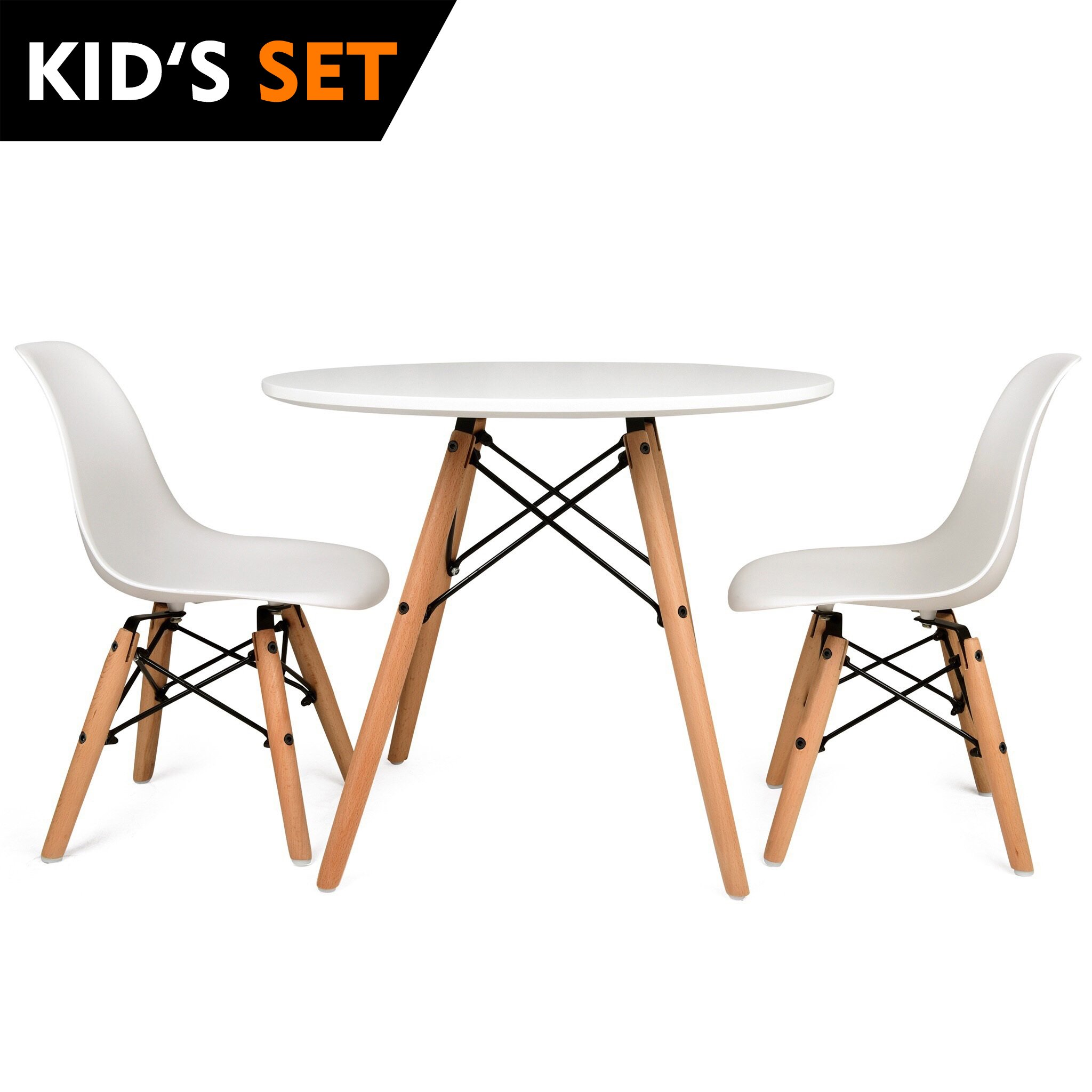 UrbanMod KIDS Eames Style Modern White Table Set, Round Table With Two (2) ABS Easy-Clean Chairs!! Highest Strength Capacity (330lbs) - Safer Chair Height!