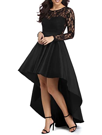 DarlingU Womens Long Sleeves Hi-lo Prom Dresses Formal Cocktail Party Gowns Black 2