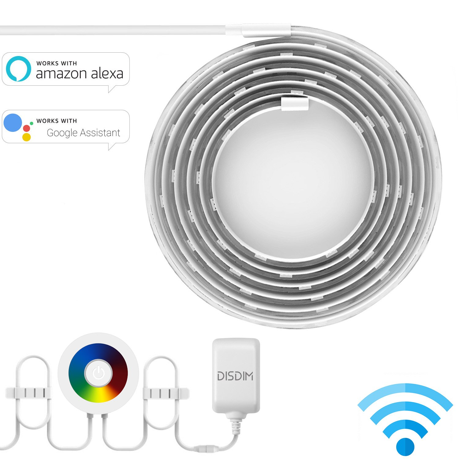 Smart LED Light Strip, DISDIM Multicolor WiFi Wireless RGB Strip Lights Smart Phone Controlled Waterproof IP65 LED Rope Lighting, DIY Kit Easy Install Working with Amazon Alexa and Google Home