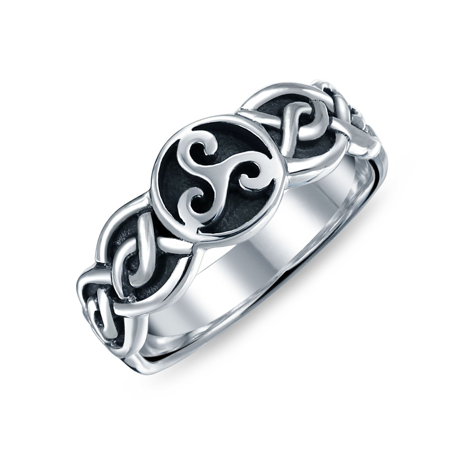Celtic Knot Triple Spiral Triquetra Unisex Sterling Silver Ring