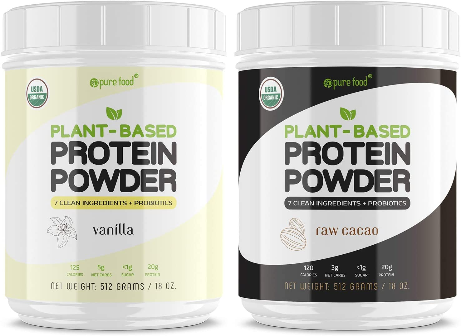 Pure Food: Plant Based Protein Powder with Probiotics | Organic, Clean, All Natural, Vegan, Vegetarian, Whole Superfood Nutritional Supplement with No Additives | Keto (Vanilla + Chocolate)