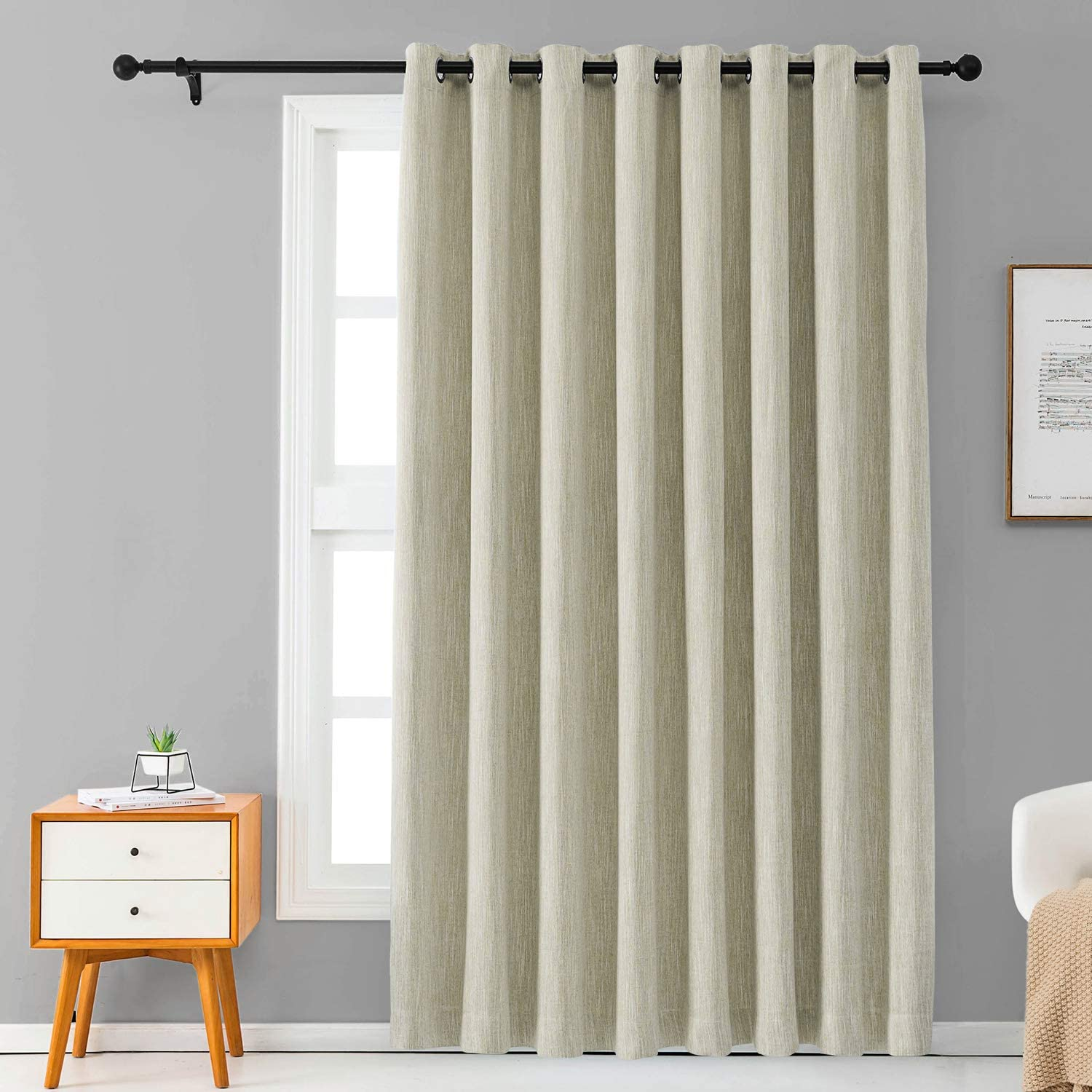 Melodieux Elegant Cotton Wide Blackout Curtains for Sliding Glass Door Living Room Thermal Insulated Grommet Drapes, 100 by 96 Inch, Beige (1 Panel)