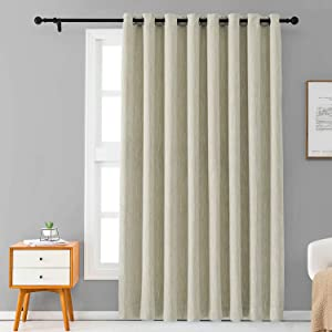Melodieux Elegant Cotton Wide Blackout Curtain for Sliding Glass Door Living Room Thermal Insulated Grommet Drapes, 100 by 84 Inch, Beige (1 Panel)