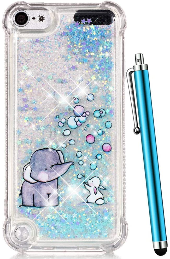 CAIYUNL for iPod Touch 6 Case,iPod Touch 5 Case Glitter, Liquid Sparkle Bling Quicksand Clear TPU Protective Cute Kids Girls Cover for Apple iPod Touch 6th Generation/iPod Touch 5th Gen -Blue Elephant