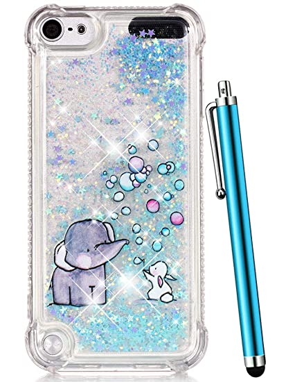 online store 2ba83 fadf5 iPod Touch 6 Case,iPod Touch 5 Case Glitter,CAIYUNL Liquid Bling Sparkle  Clear Cute TPU Kids Girls Protective Cover Shockproof for Apple iPod Touch  ...
