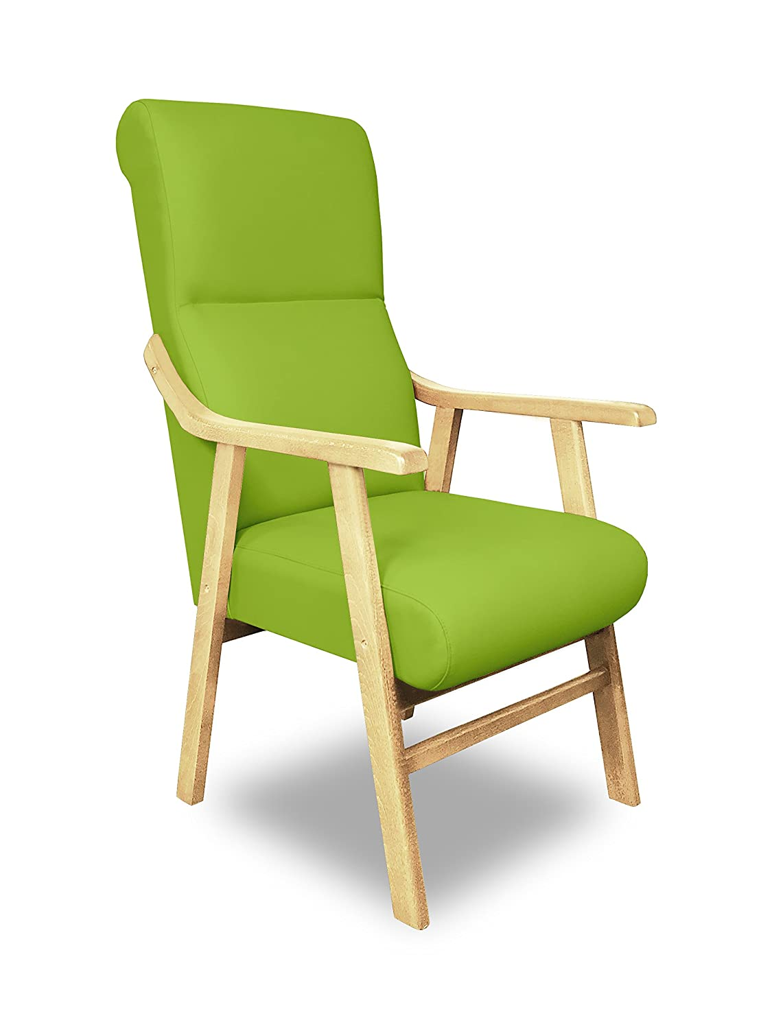 SERMAHOME Chair Armchair Boston. Beech Wood. Upholstered Leatherette. ALTURA: 110 cm; ANCHO: 58 cm; FONDO: 66 cm. white