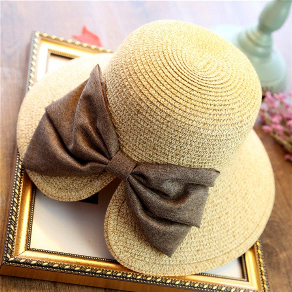 Interesting® Mujeres pescador bowknot Straw Bucket sombreros grandes sombreado sombreado sombrero de sol