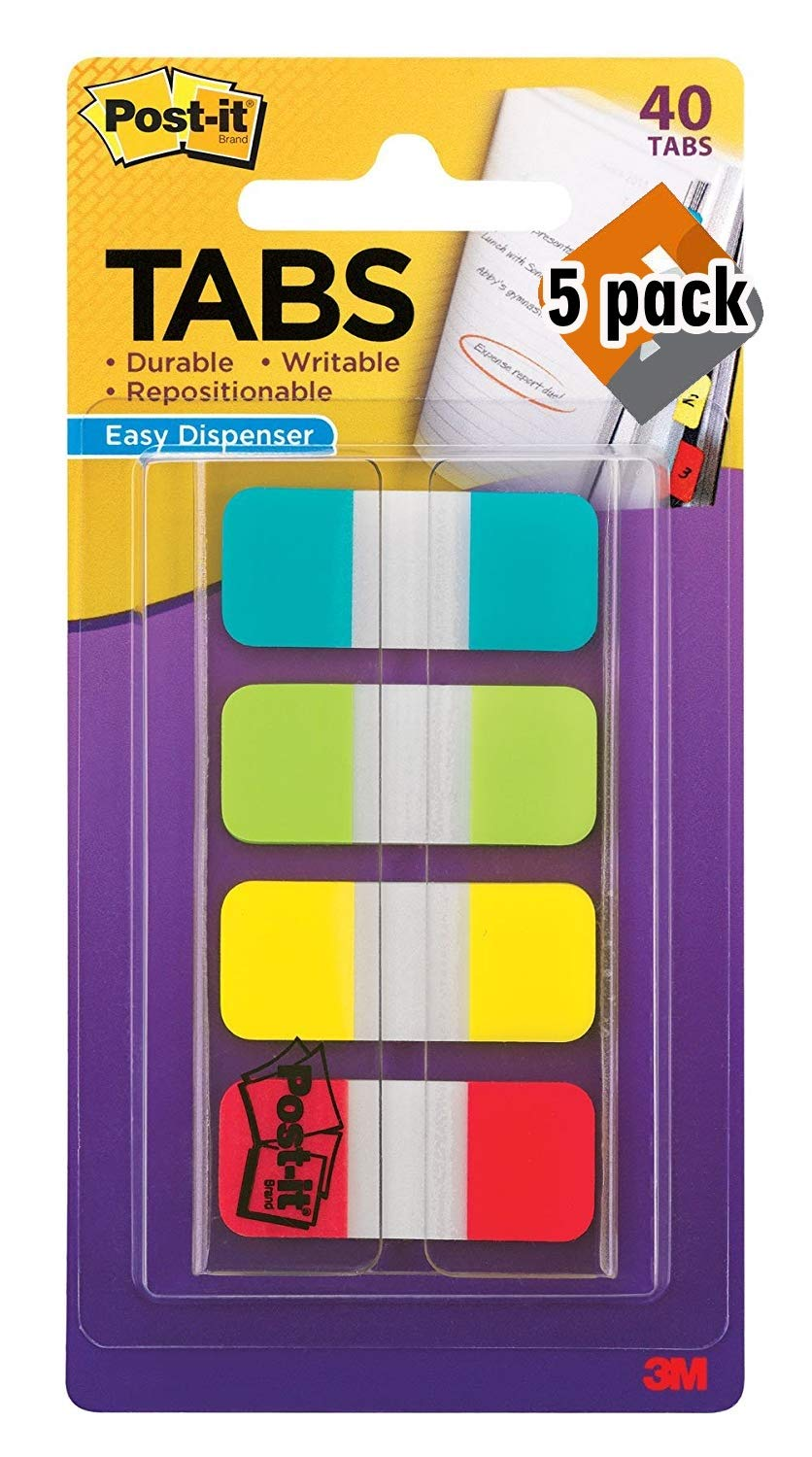 Post-it Tabs.625 in. Solid, Aqua, Lime, Yellow, Red, Durable, Writable, Repositionable, Sticks Securely, Removes Cleanly, 10/Color, 40/Dispenser, (676-ALYR) - Pack 5 by Post-it