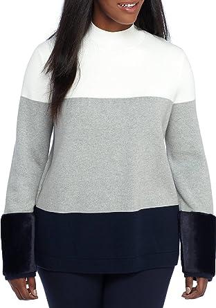 ab1ec3ce4fd Crown   Ivy Women s Plus Size Faux Fur Trim Cuffs Sweater at Amazon ...