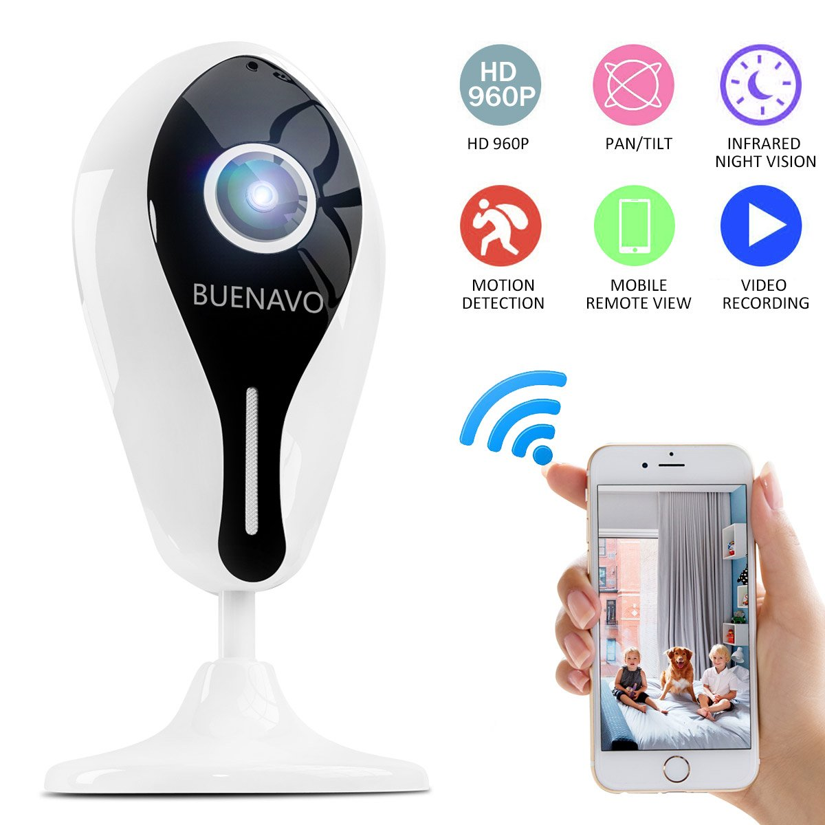 [UPGRADED] BUENAVO 960P Home Security Camera Wireless IP Camera Two-Way Audio Indoor Security Surveillance System with Night Vision and Motion Detection for Baby, Pet Monitor