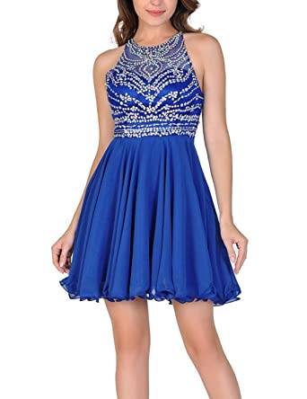 Aurora Bridal Womens Beading Open Back 2018 Homecoming Dresses Short Chiffon Prom Gowns for Juniors AH020 at Amazon Womens Clothing store: