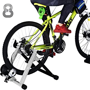 "HEALTH LINE PRODUCT Bike Trainer Stand for 26""-29"" Mountain & 700C Road Bikes, Indoor Stationary Bicycle Exercise w Quiet Noise Reduction/Wider 8 Levels Resistance"