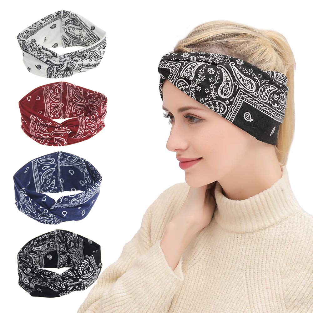 HZQDLN 4 Package for Bohemia Style Headbands Vintage Elastic Printed Head Wrap Stretchy Hairband Twisted Cute Girl Hair Accessories