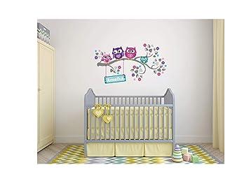 Wandtattoo kinder Babyzimmer Aufkleber Eule Eulen Wandsticker Wand  Waldtiere Kinderzimmer Wandaufkleber Dekoration fürs Baby Kindergarten Baum  Tiere ...