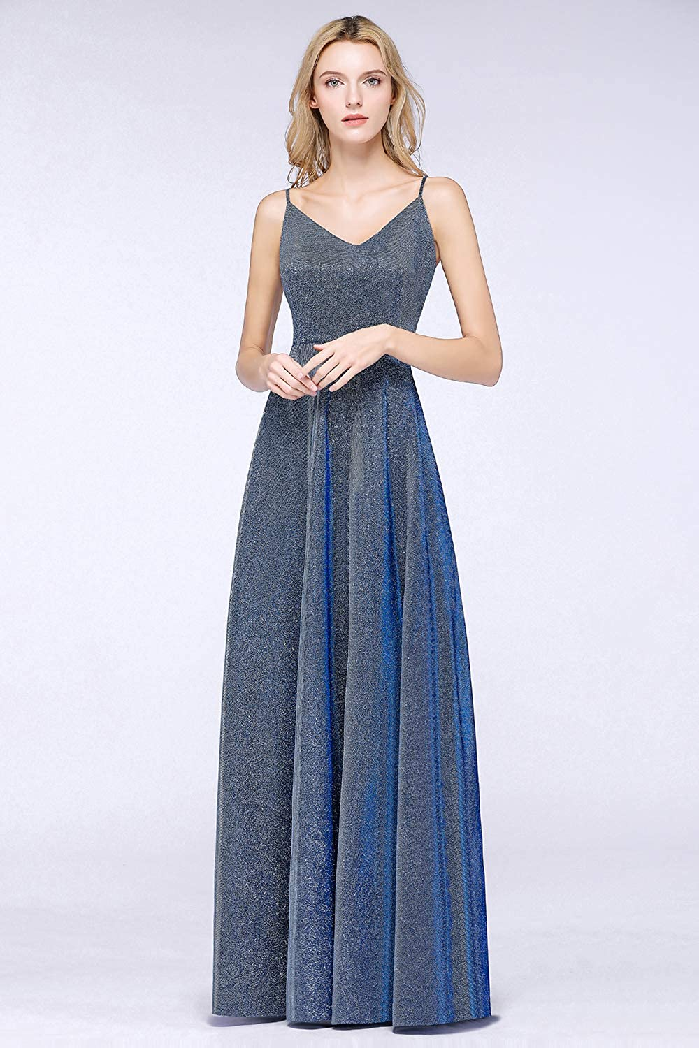 Fatapaese Womens Long Spaghetti Straps Evening Dress 2019 Prom Gown with Bright Silk
