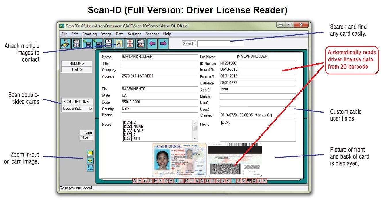 Amazon Duplex Driver License Scanner And Reader Wscan Id