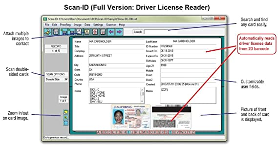 Duplex Driver License Scanner and Reader (w/Scan-ID, for Windows)
