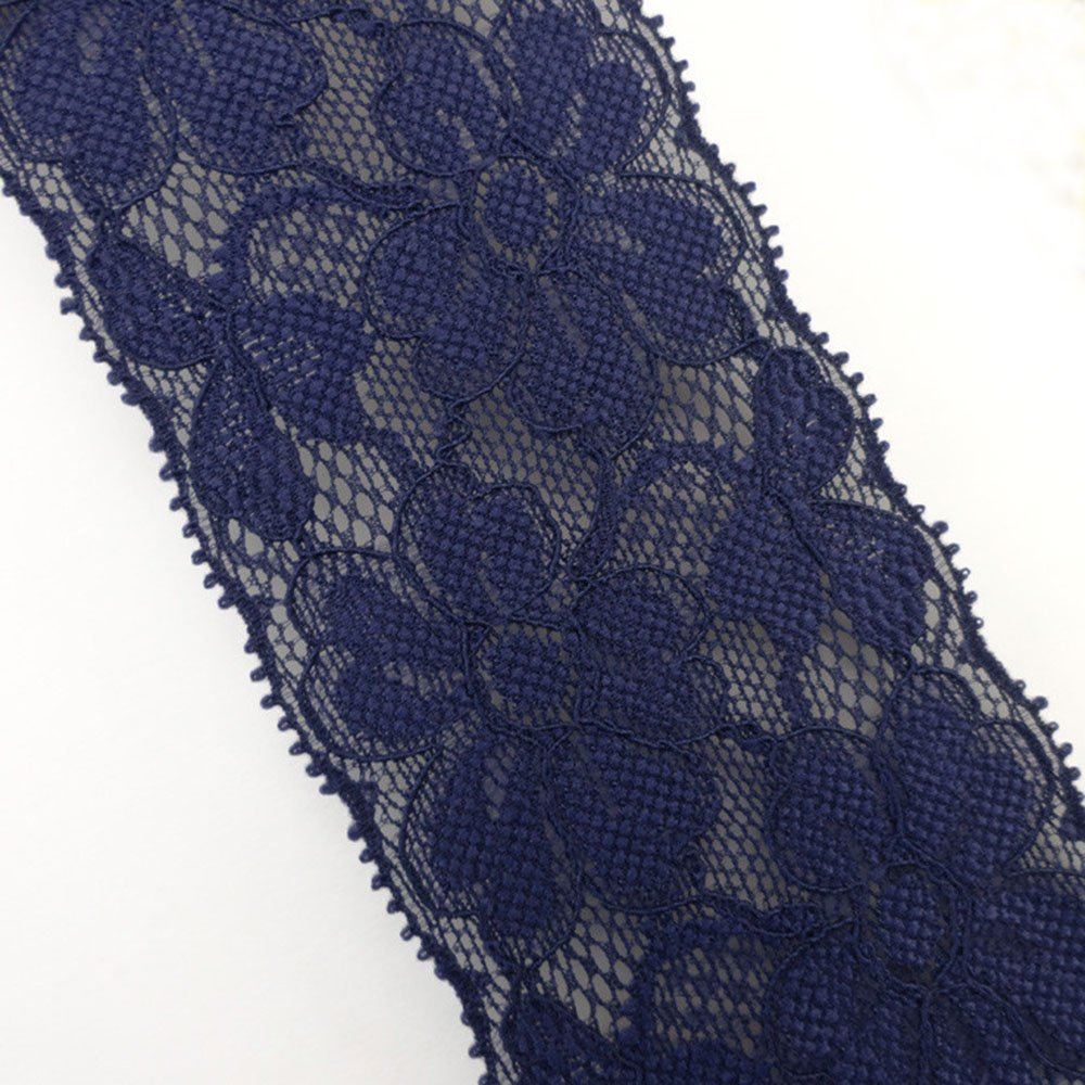 10 Yards/lot 2-1/8 Wide Floral Stretch Lace Embroidery Elactic Lace Trim for Garment Sewing Hair Band Gift Supply (Dark Gray) Zthread