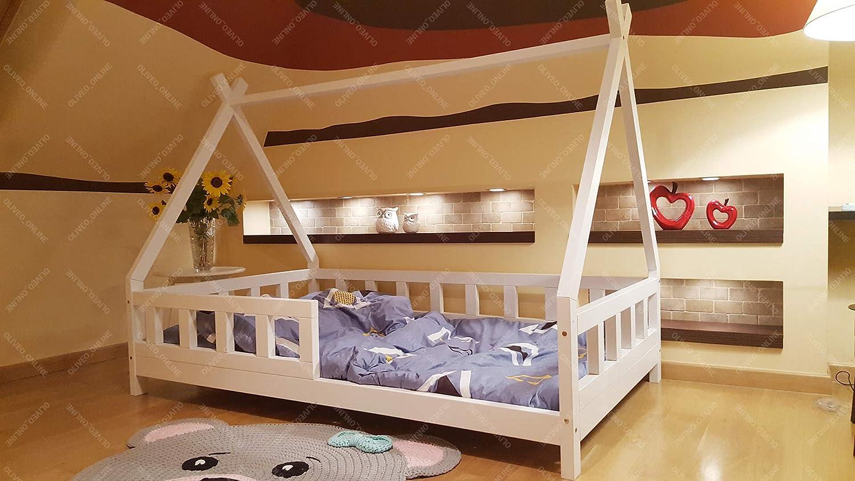 Oliveo Tipi Cama para niños, Cama Infantil, Cama de Juego, casa de niños, Tienda India, Madera, Pintado (190 x 90 cm, Madera Natural): Amazon.es: Hogar