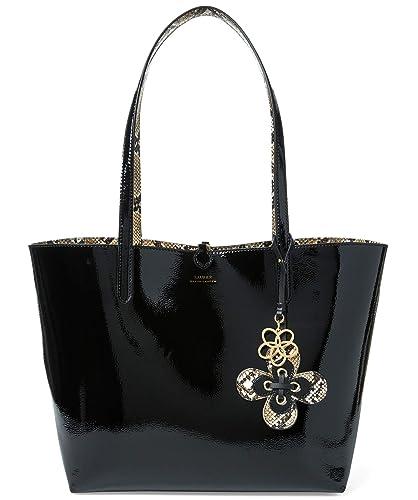f2d84a3afd Amazon.com  Ralph Lauren Merrimack Reversible Tote Bag Handbag -  Black Natural  Shoes