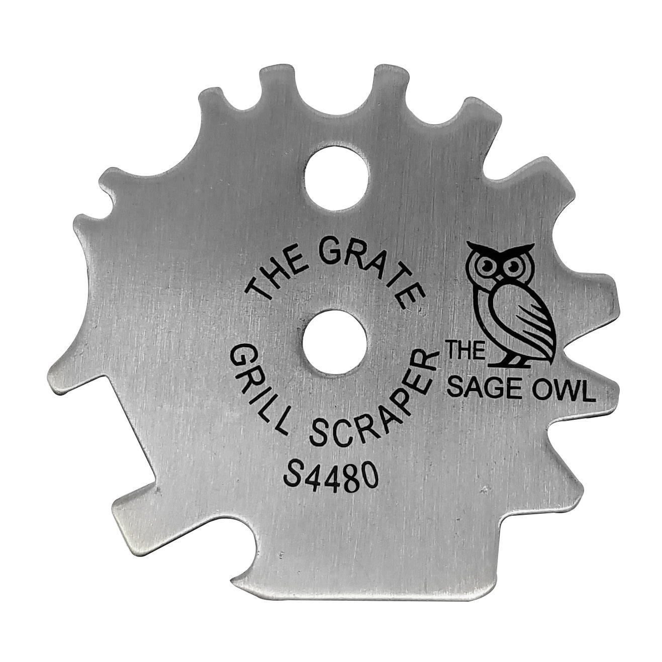 The Grate Grill Scraper - Stainless Steel Barbecue Tool - Safe, Effective Cleaner of Grills (Charcoal, Gas, Electric, Ceramic, Infrared, Pellet), Smokers and Indoor Ovens by The Sage Owl S4420