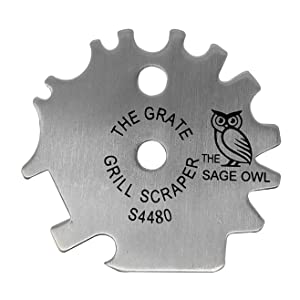 Stainless Steel BBQ Grill Scraper - Safer Than A Wire Brush for Cleaning Your Barbecue Grate - Add This Bristle Free Barbeque Cleaner to Your Tailgating Accessories - Great Stocking Stuffer Ideas