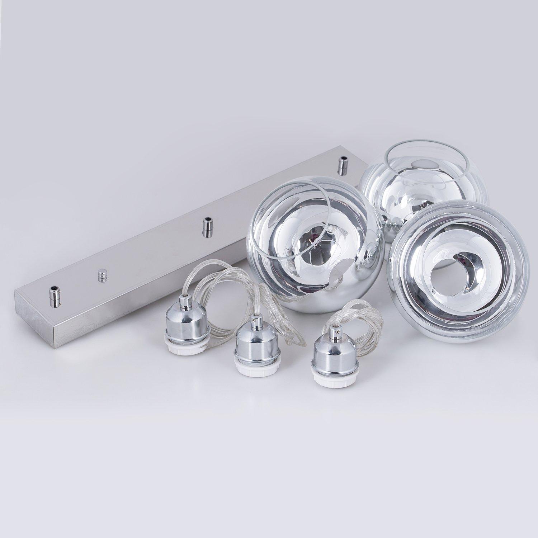 ShengQing 3-Light Mini Globe Pendant Light Modern Kitchen Island Lighting Long Base Mirror Ball Pendant Lighting Fixture in Polished Chrome Finish with Hand Blown Glass by ShengQing (Image #7)