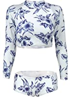 09f5cdbcdfdcc Futurino Women's Floral Print Long Sleeves Padded Mock Neck Two Piece  Swimsuit
