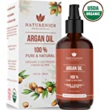 Naturenics Moroccan Argan Oil |100% Certified Pure USDA Organic Cold Pressed Carrier Oil - Moisturizing Solution for Face, Body, Hair, Skin & Nails | Roll On & eBook- 4 Fl Oz