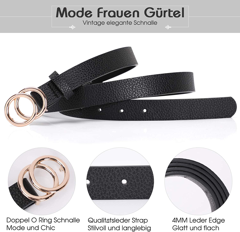 XZQTIVE Damen PU Leder D/ünner G/ürtel f/ür Kleid /& Jeans Mode Weiches Leder mit Doppel O-Ring Schnalle