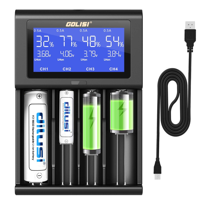 Cargador Baterias 18650, Dilusi i4 Pantalla LCD Cargador Inteligente Rápido para Baterías NI-MH NI-CD AA AAA Li-Ion LiFePO4 IMR 10440 14500 16340 ...